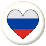 Russia Country Flag Heart 25mm Button Badge